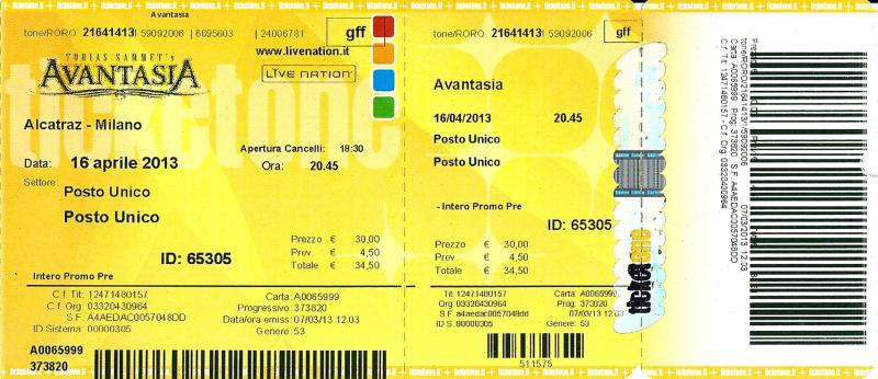 Avantasia Ticket